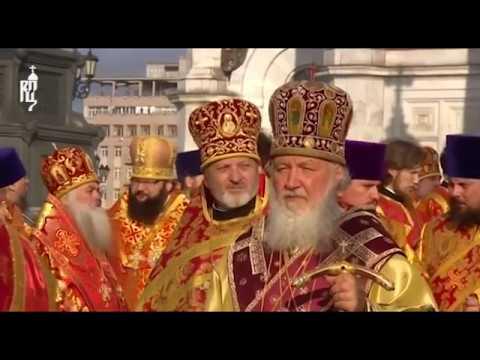 Die Reliquie des heiligen Nikolaus in Moskau eingetroffen - große orthodoxe Messe