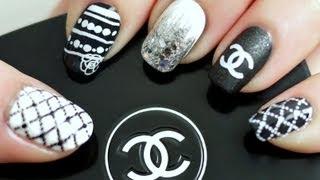 Black & White Chanel Inspired Nail Tutorial (Konad Stamping) - YouTube