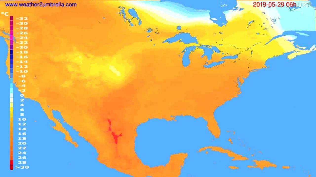 Temperature forecast USA & Canada // modelrun: 00h UTC 2019-05-27