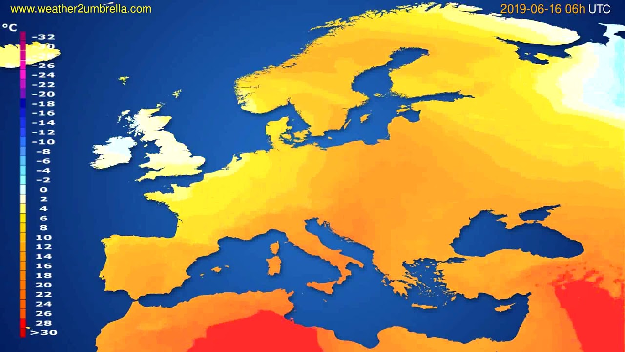 Temperature forecast Europe // modelrun: 12h UTC 2019-06-13