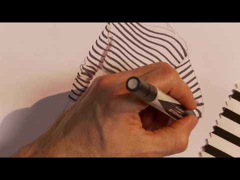 How to hand render a black and white nautical stripe