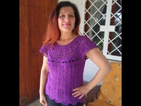 CROCHET TOP DOWN BLOUSE SWEATER tutorial all sizes  also as winter sweater with long sleeves