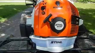 6. New Stihl BR600 Magnum Back Pack Leaf Blower Test. Angled attatchment  lower elbow