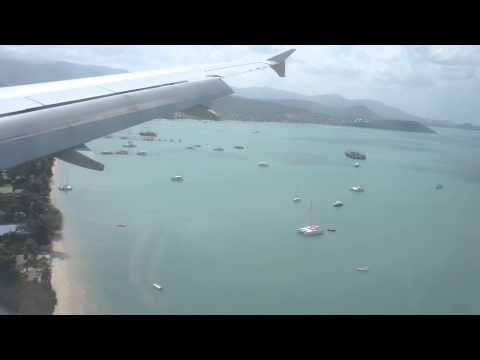 Full Approach and Landing to Koh Samui Airport, Bangkok Air Airbus 319, Thailand