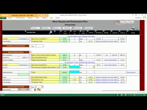 Estimating Software -  Easy Price Pro - Demonstrating NHE & TB