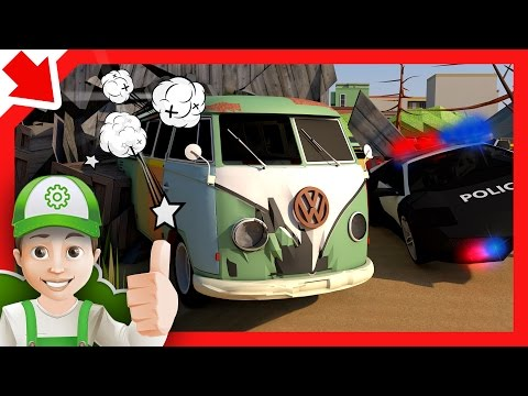 Police car Chase and Thief in car. Police cartoon for children Kids story Handy Andy and Monster car