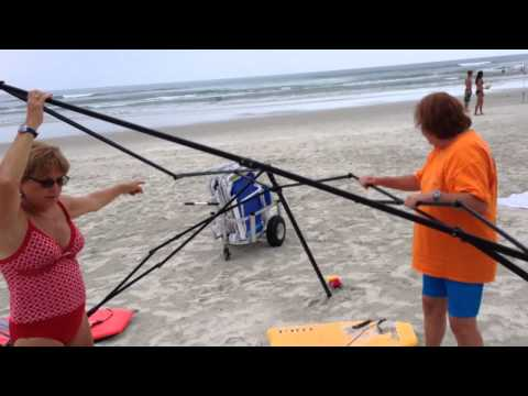 Women Trying to Steal Beach Canopy Caught Red-Handed