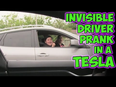Invisible Driver Prank In A Tesla