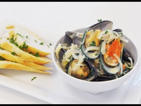 Organic New Zealand Mussels With White Wine Cream Sauce