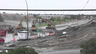 Demolition of Calgary's Crowchild Trail Flanders Overpass - Public Domain Stock Footage