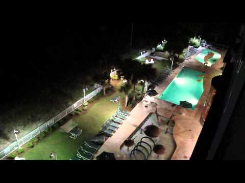Hampton Inn Oceanfront Myrtle Beach View of Pools Off Balcony at Night