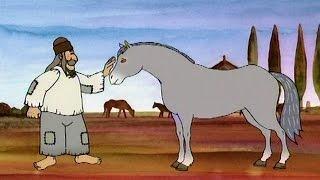 A szegény ember lova elhatározza, hogy szerez magának egy társat, hogy ketten húzzák majd a szekeret. Erdei kalandja során farkasbundára tesz szert.