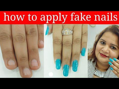 Gel nails - how to apply fake nails at home ( in Hindi)