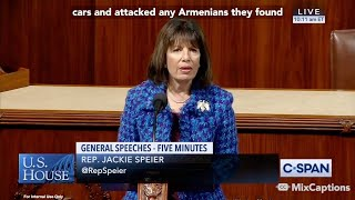 US Rep. Jackie Speier, Floor Speech Captions on Baku Pogroms