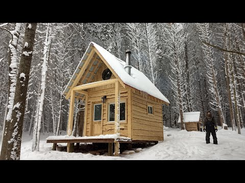 BUILDING a Small Cabin in the WOODS (COMPLETE BUILD!)