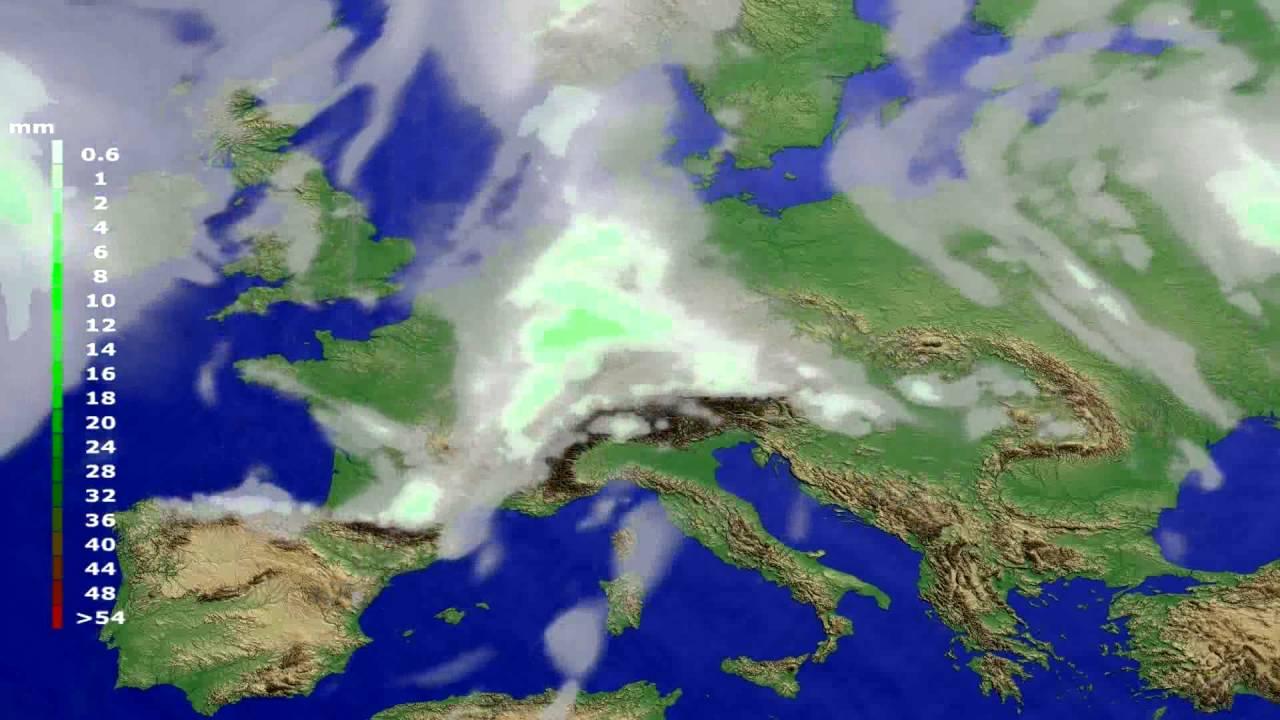 Precipitation forecast Europe 2016-07-20