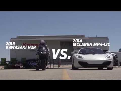 wow! kawasaki ninja h2r vs mclaren mp4-12c, bugatti veyron e nissan gt-r