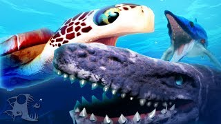 Mosasaurus attacks and creatures of the deep feed and for Feed and grow fish online