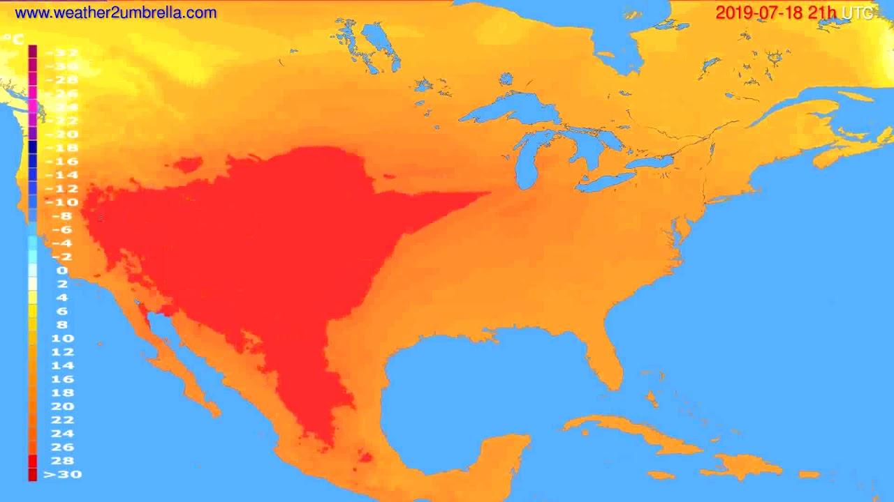 Temperature forecast USA & Canada // modelrun: 00h UTC 2019-07-17