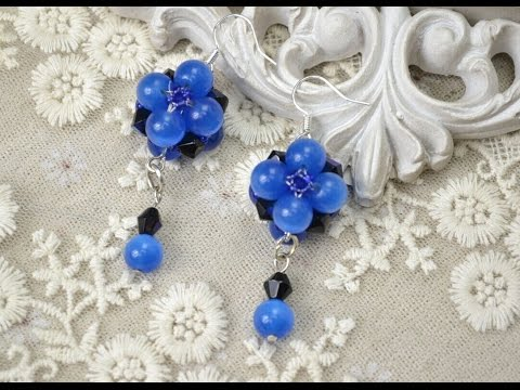 PandaHall Jewelry Making Tutorial Video--Bead Earrings with Blue Cat Eye Glass Beads and Crystals