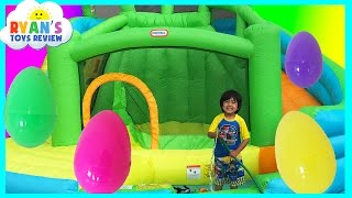 Video HUGE EGGS Surprise Toys Challenge with Inflatable water slide MP3, 3GP, MP4, WEBM, AVI, FLV Oktober 2018