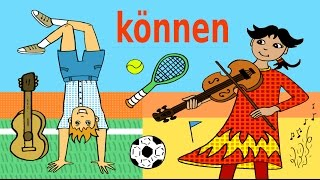 Die Konjugation des Verbs können im Präsens und Präteritum mit Beispielsätzen. Jeder Satz wird mit einem einfachen, liebevoll und kindgerechten Bild zu den Themen Sport und Musikinstrumente veranschaulicht. Learn about sports, musical instruments and the German modal verb können. The present and past tense conjugations of the verb are presented within example sentences and illustrated with easy to understand pictures. A fun way to learn for children and beginner learners of German.