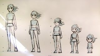 how to draw female body proportions teenager to kid manga