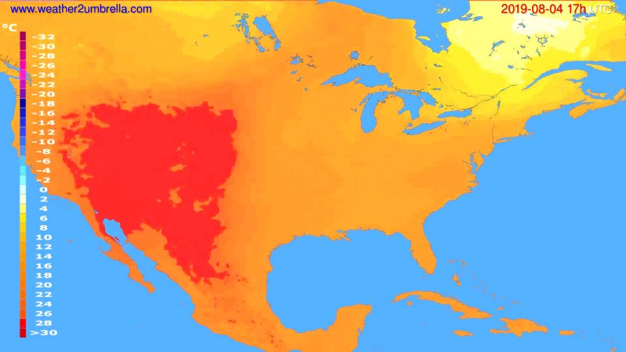 Temperature forecast USA & Canada // modelrun: 00h UTC 2019-08-03