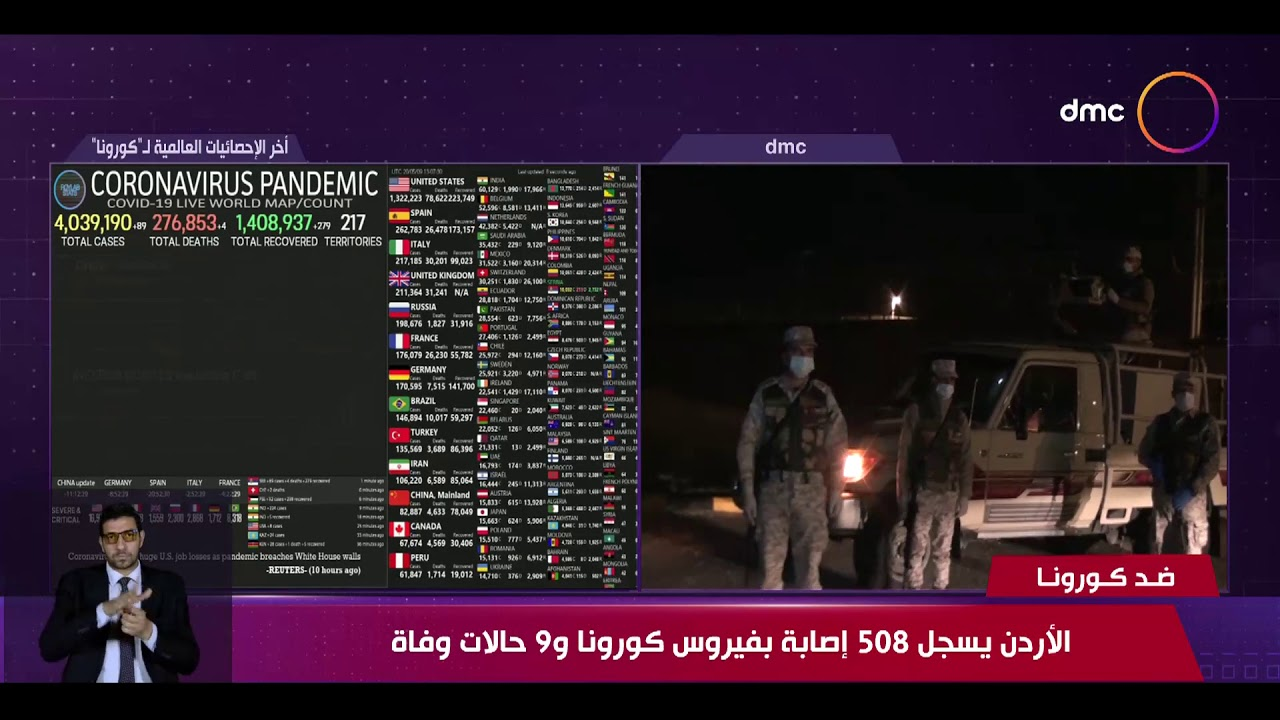 نشرة ضد كورونا - الأردن يسجل 508 إصابة بفيروس كورونا و 9 حالات وفاة