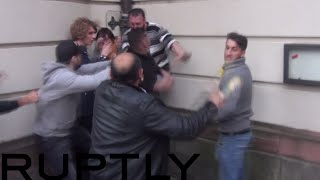 Clashes erupted in Frankfurt between Turkish nationalists and pro-Kurdish protesters as riot police struggled to keep the groups...