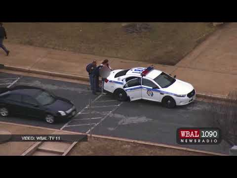Loch Raven High School student arrested and escorted out by SWAT with a handgun in his backpack.