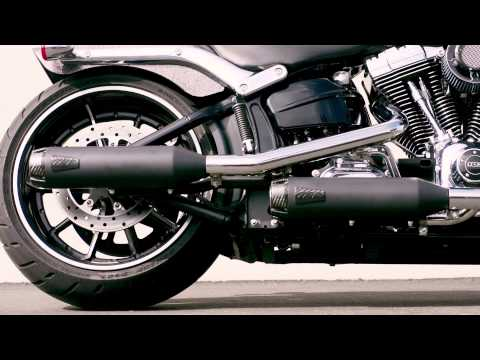 Dual Slip-On Exhaust for 13-17 Softail Breakout Video