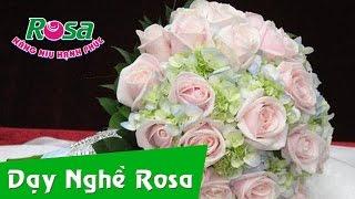 Cắm hoa cưới kiểu bó tròn (Hoa Lan, Hoa Hồng)