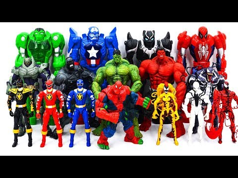 Power Rangers & Marvel Avengers Toys Pretend Play | Spider Hulk Defeat Villains Army Rescue Hulk