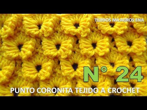 Punto Coronita tejido a crochet paso a paso fácil de tejer para cobijas y bufandas
