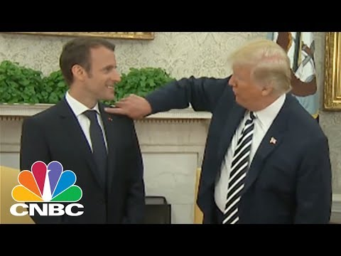 President Donald Trump Brushes Dandruff Off French President Macron | CNBC