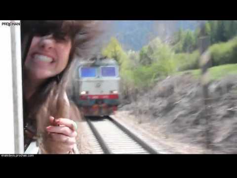 Girl's Head Vs. Train... Who Will Win?