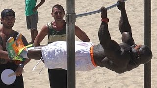 Kali Muscle Hanging at Muscle Beach #2 on Labor Day 2015