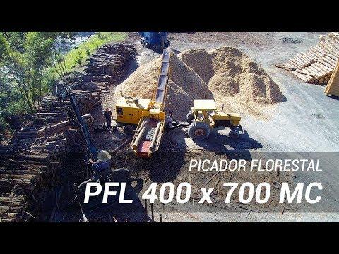 PFL 400 x 700 MC com produção contínua de cavacos de madeira para industria