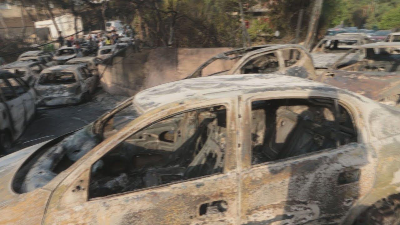 Σκηνικό πολέμου από την πύρινη λαίλαπα στο Μάτι