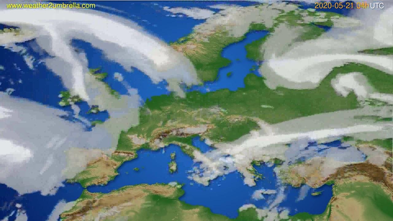 Cloud forecast Europe // modelrun: 12h UTC 2020-05-20