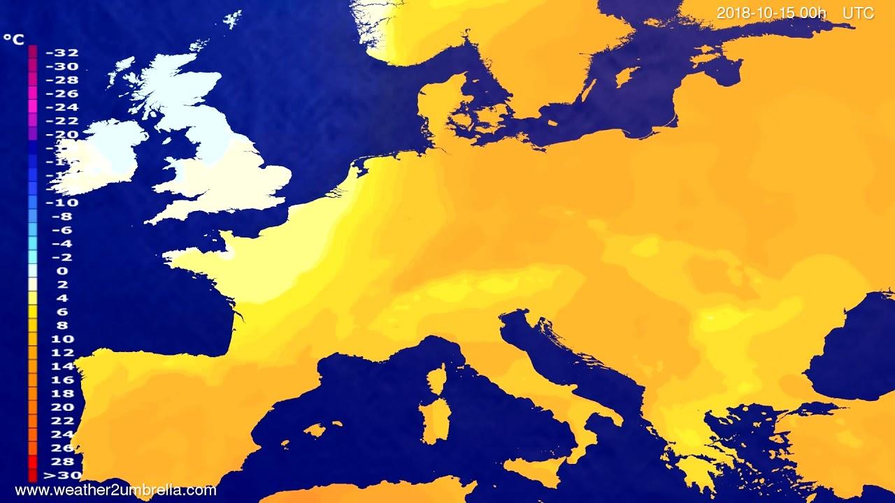 Temperature forecast Europe 2018-10-12