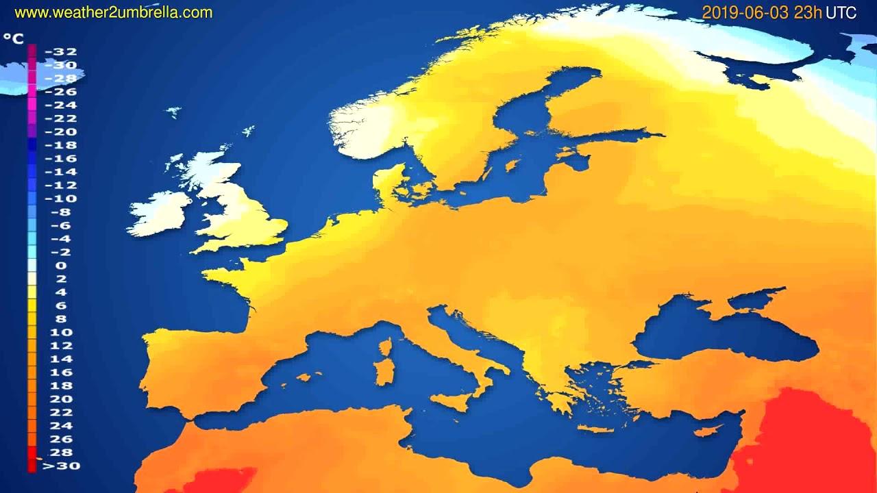 Temperature forecast Europe // modelrun: 12h UTC 2019-05-31