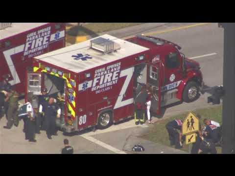 Aerial shots of school shooting in Parkland Florida