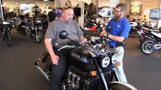 6. 2016 Triumph Rocket III Roadster in Phantom M. Blk w White Stripes Delivery @ Frontline by Nate