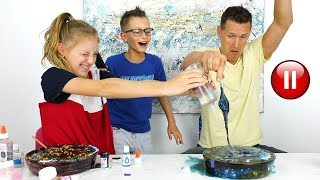 Video PAUSE SLIME CHALLENGE with Our DAD!!! MP3, 3GP, MP4, WEBM, AVI, FLV September 2019