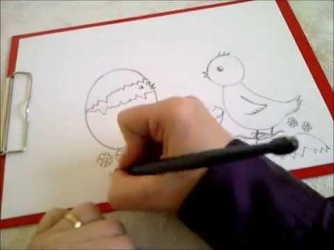Zeichnen lernen für Anfänger. Osterbild. Küken mit Osterei und Blumen