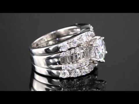 5.62 TCW Round Cubic Zirconia Three-Piece Bridal Set In Platinum Over Sterling Silver