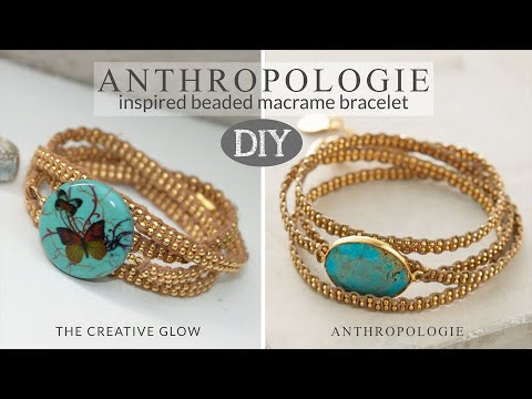 """macramè - braccialetto con motivo in rilievo """"ispirazione anthropologie"""""""
