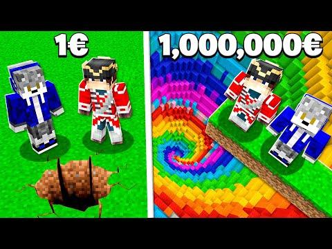 TROU À 1€ VS TROU À 1.000.000€ DANS MINECRAFT !